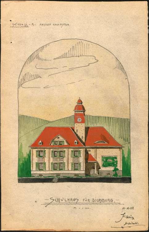 Schulhausneubau Diersburg; Ostansicht, Bild 1