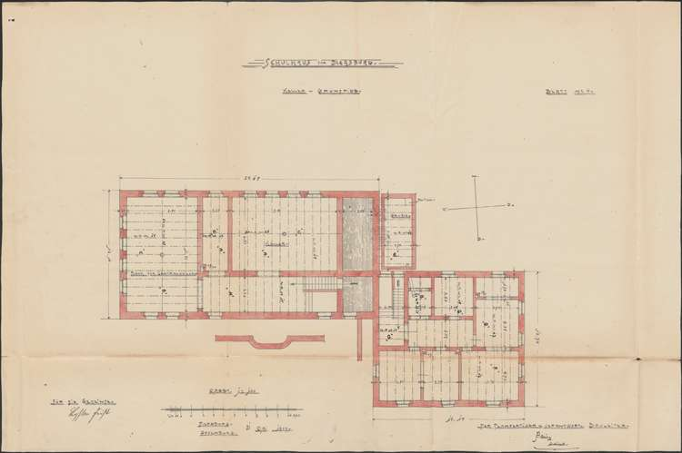 Schulhausneubau Diersburg; Grundriss Keller, Bild 1
