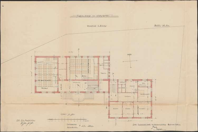 Schulhausneubau Diersburg; Grundriss 1. Stock, Bild 2