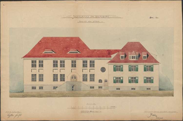 Schulhausneubau Diersburg; Südansicht, Bild 2
