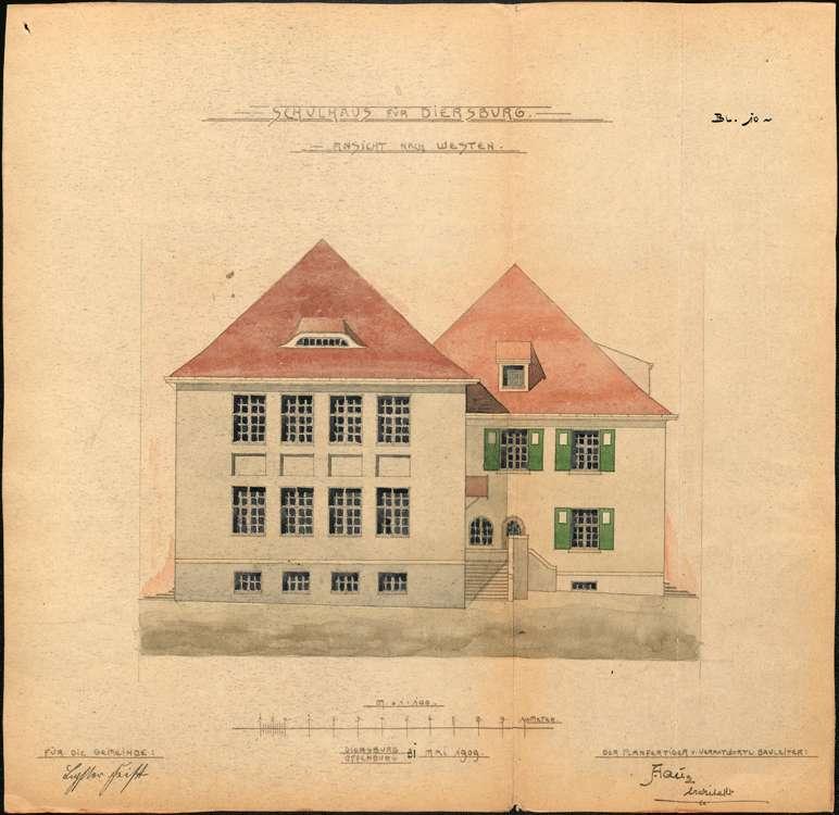 Schulhausneubau Diersburg; Westansicht, Bild 1