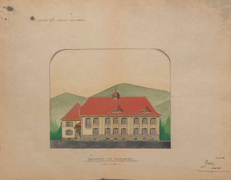 Schulhausneubau Diersburg; Nordansicht, Bild 2
