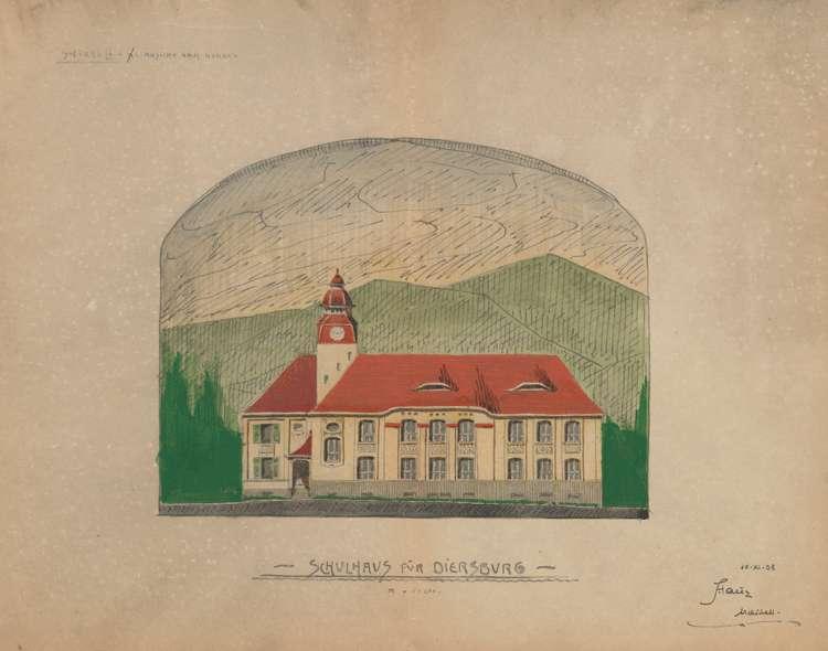 Schulhausneubau Diersburg; Nordansicht, Bild 1