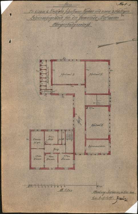 Schulhausneubau Hofweier; Grundriss Obergeschoss, Bild 1