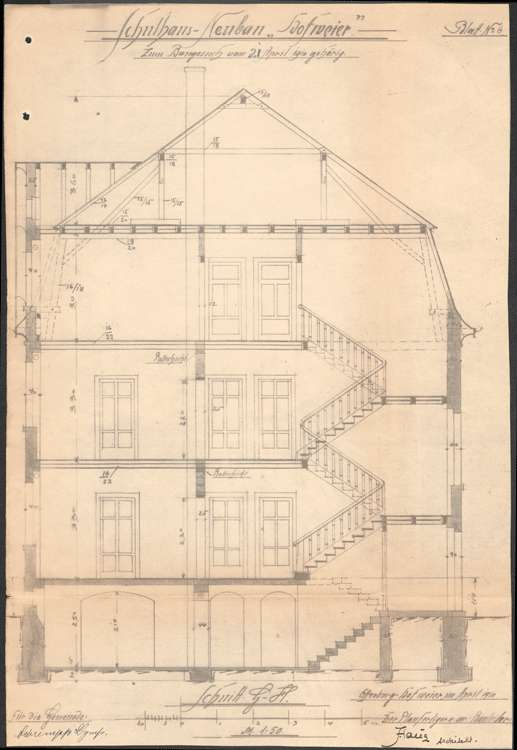 Schulhausneubau Hofweier; Querschnitt, Bild 1