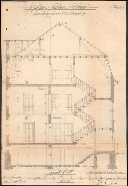 Schulhausneubau Hofweier; Querschnitt, Bild 2