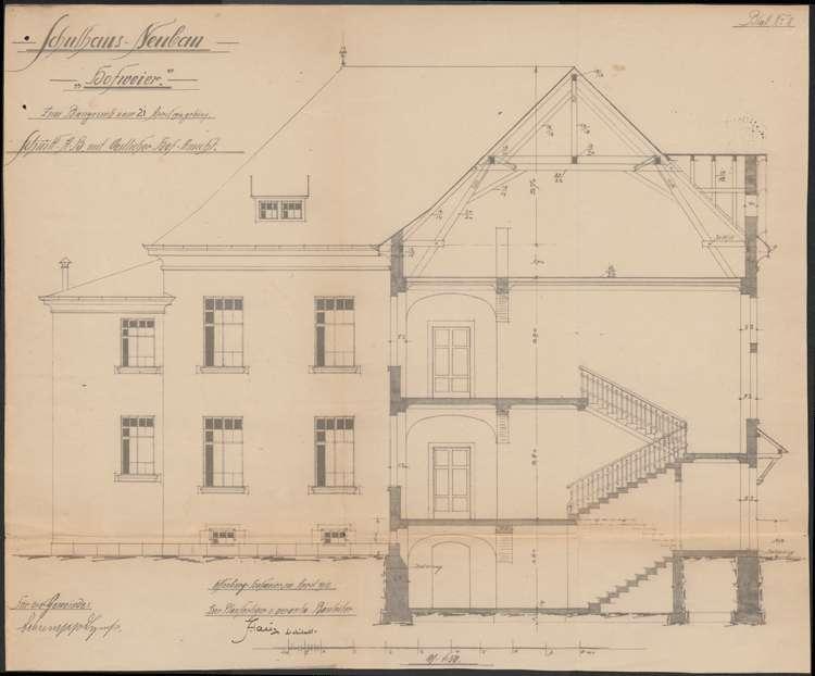 Schulhausneubau Hofweier; Querschnitt und Hofansicht, Bild 2