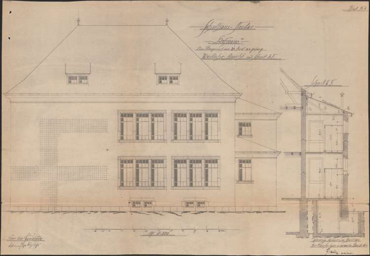 Schulhausneubau Hofweier; Querschnitt und Hofansicht, Bild 1