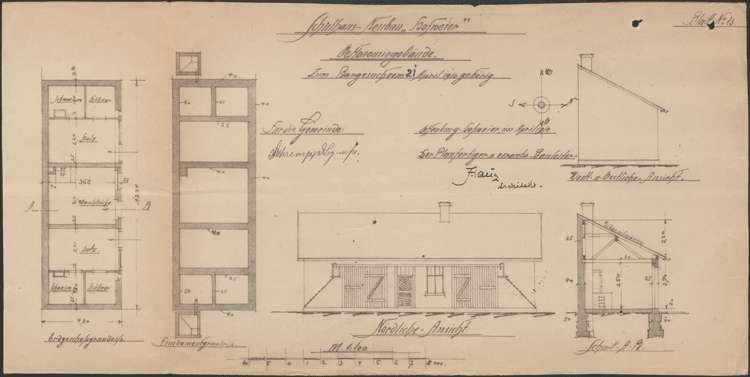 Schulhausneubau Hofweier; Entwürfe zum Ökonomiegebäude, Bild 1