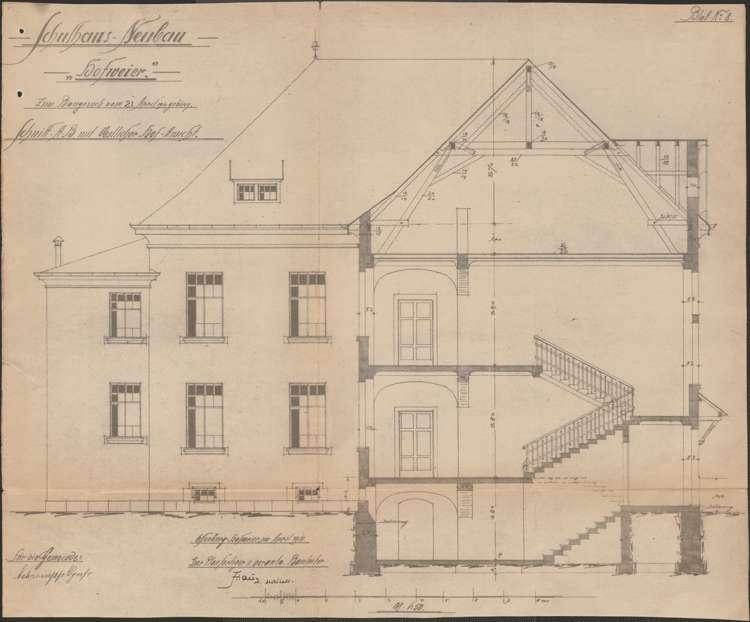Schulhausneubau Hofweier; Schnitt und Hofansicht, Bild 1