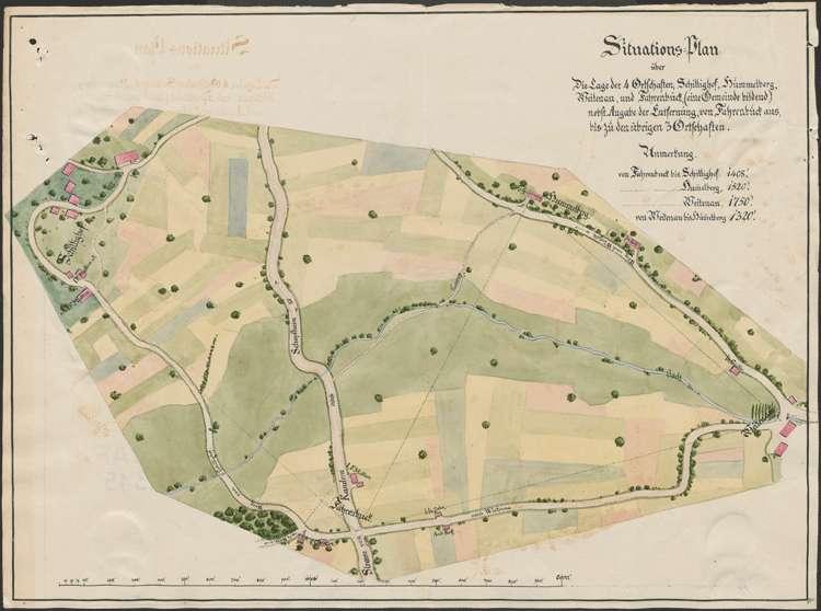 Situationsplan über die Lage der vier Ortschaften; Schillighof, Hummelberg, Weitenau und Fahrnbuck, Bild 1
