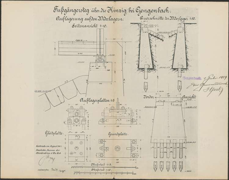 Fußgängersteg über die Kinzig bei Gengenbach; Auflagerung auf den Widerlagern, Bild 1