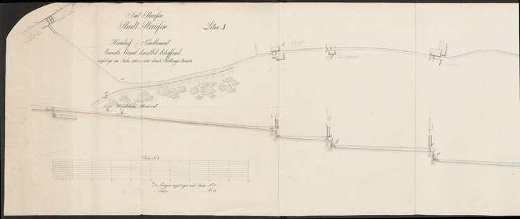 Gewerbekanal Staufen, Handriss und Nivellement; gef. v. Geometer Hüttinger; kol. Handzeichnung, l
