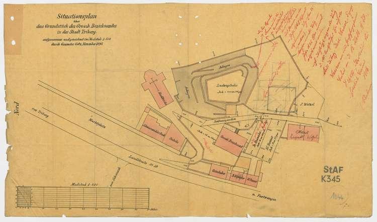 Stituationsplan über das Grundstück des Großh. Bezirksamtes in Triberg, Bild 2
