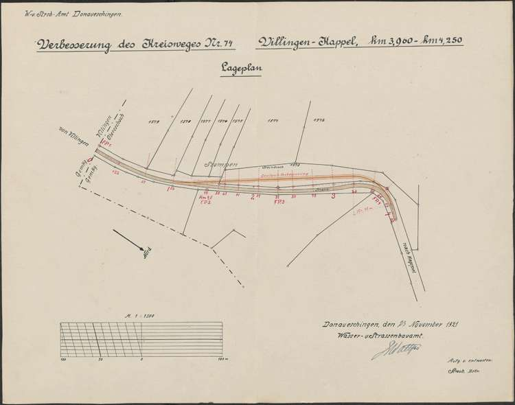 Verbessserung des Kreisweges Villingen-Kappel; Lageplan 1:1500, Bild 1
