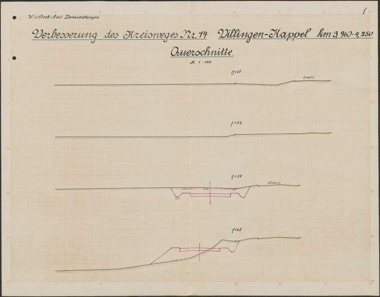 Verbessserung des Kreisweges Villingen-Kappel; Querschnitte, 01