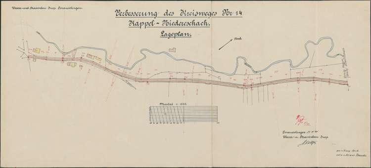 Verbessserung des Kreisweges Nr. 14, Kappel-Niedereschach; Lageplan I, 1:1500; bearb. v. Wasser- und Straßenbauamt Donaueschingen, Bild 2