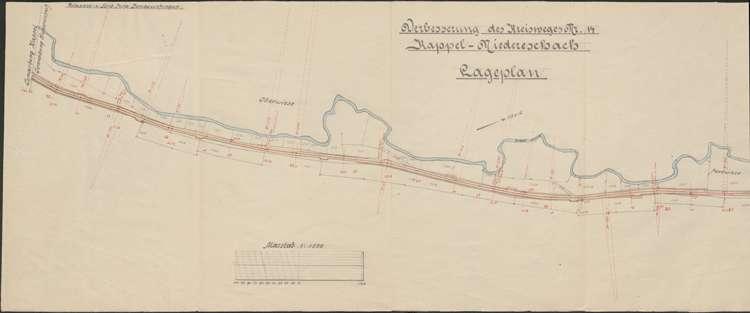 Verbessserung des Kreisweges Nr. 14, Kappel-Niedereschach; Lageplan II, 1:1500; bearb. v. Wasser- und Straßenbauamt Donaueschingen, l
