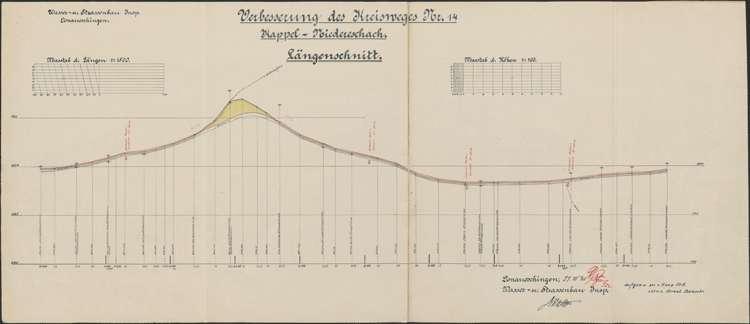 Verbessserung des Kreisweges Nr. 14, Kappel-Niedereschach; Längenschnitt I, 1:1500; bearb. v. Wasser- und Straßenbauamt Donaueschingen, Bild 1