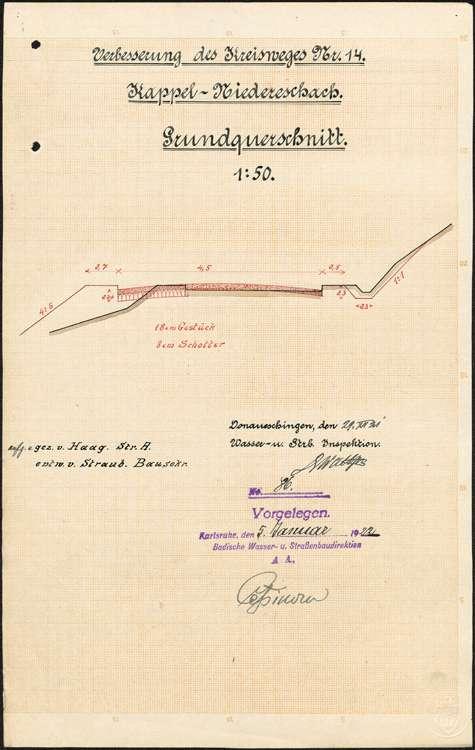 Verbessserung des Kreisweges Nr. 14, Kappel-Niedereschach; Querschnitte; bearb. v. Wasser- und Straßenbauamt Donaueschingen, 01