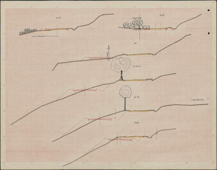 Verbessserung des Kreisweges Nr. 14, Kappel-Niedereschach; Querschnitte; bearb. v. Wasser- und Straßenbauamt Donaueschingen, 03