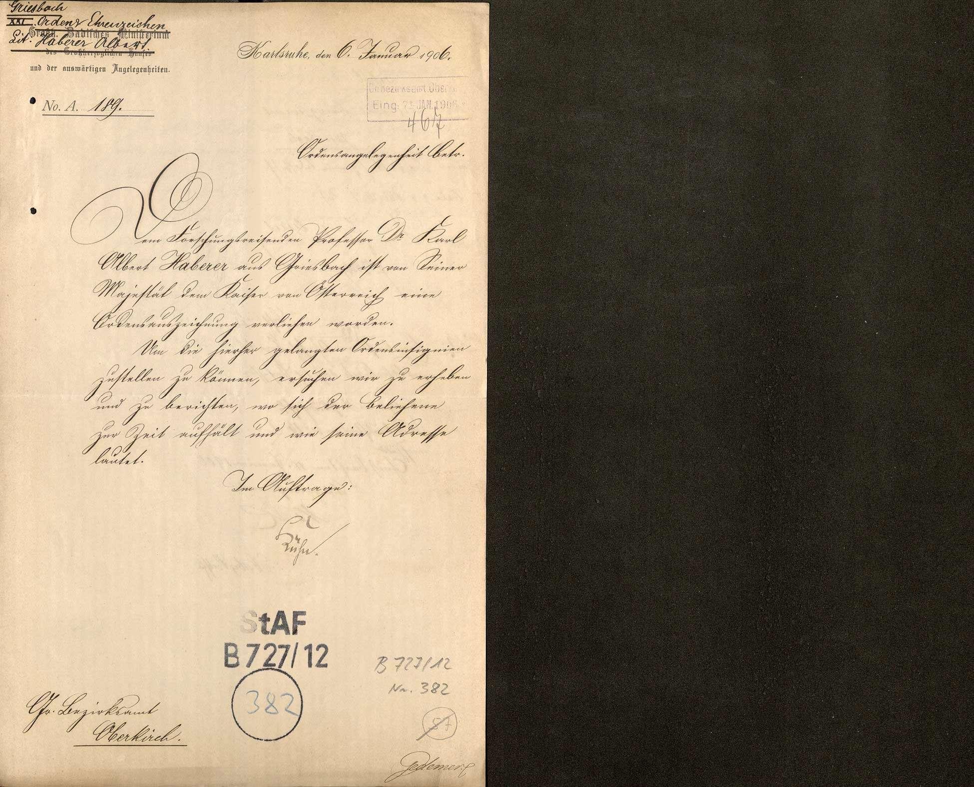 Ordensverleihung an Prof. Dr. Karl Albert Haberer von Griesbach, Bild 1