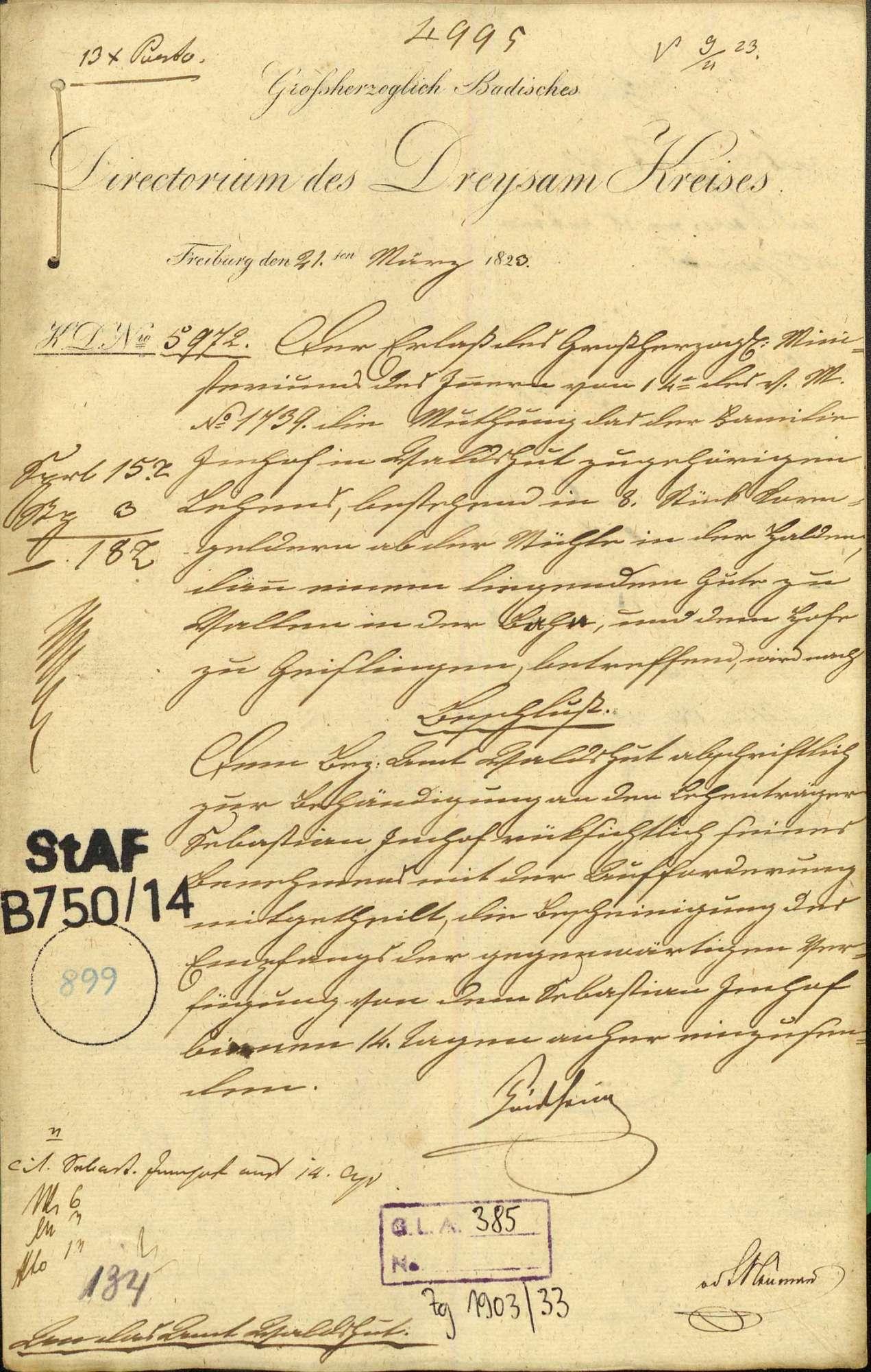 Mutung des der Familie Imhof in Waldshut zugehörigen Lehens, bestehend in 8 Stück Korngelder von der Mühle in der Halden, einem liegenden Gut zu Wallen in der Baar und dem Hof zu Geislingen, Bild 1