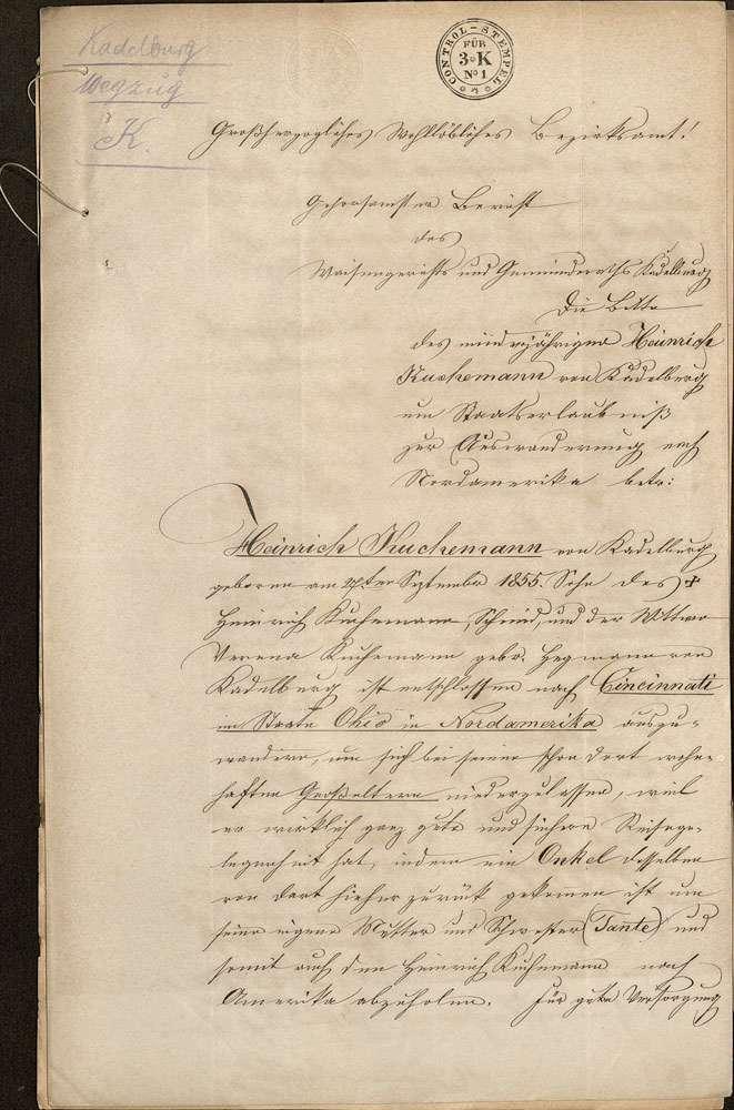 Auswanderung: Heinrich Kuchemann, Kadelburg, nach Cincinnati/US-Bundesstaat Ohio, Bild 2