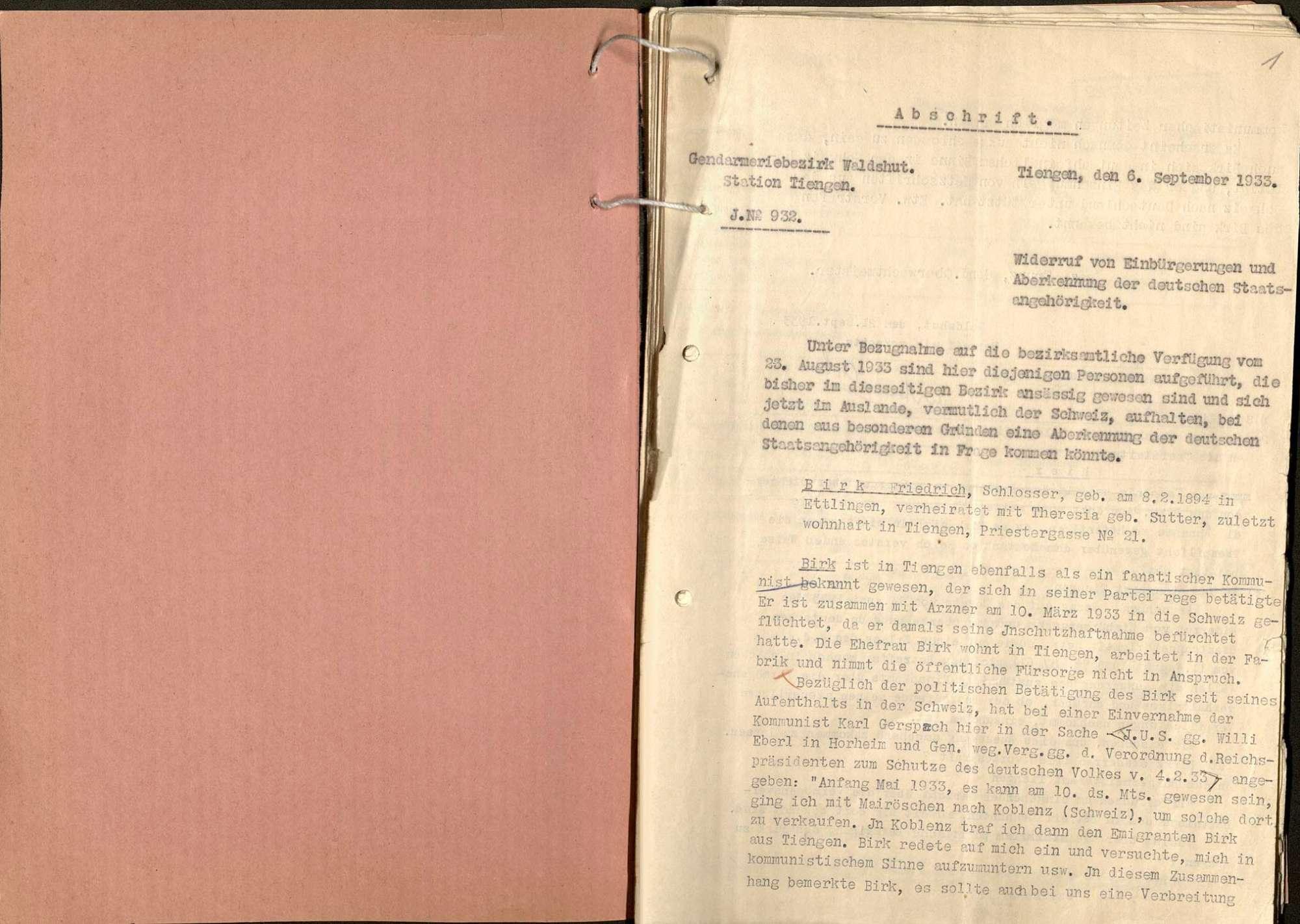 Aberkennung der Staatsbürgerschaft: Friedrich Birk, Tiengen, wegen kommunistischer Agitation, Bild 2