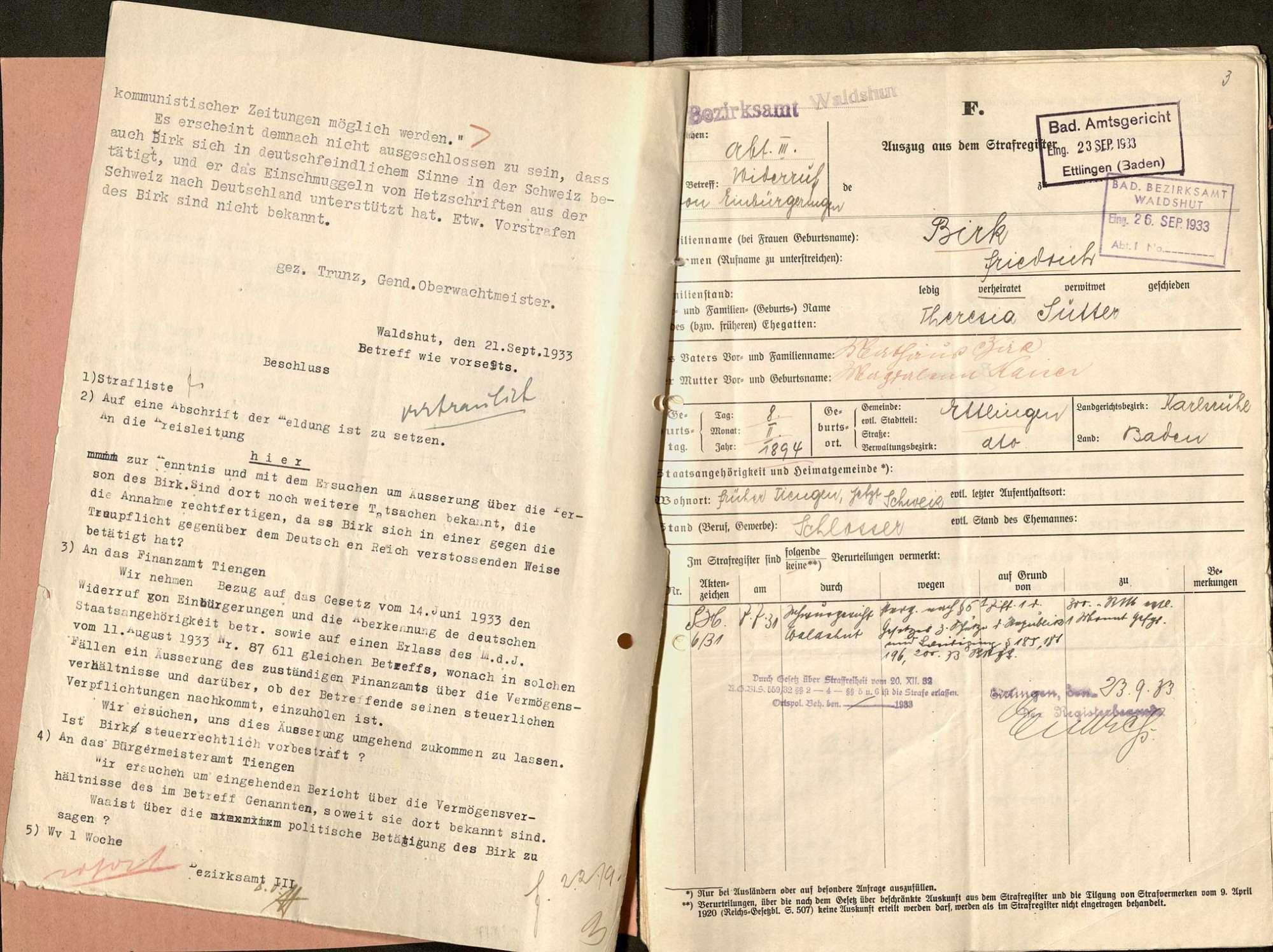 Aberkennung der Staatsbürgerschaft: Friedrich Birk, Tiengen, wegen kommunistischer Agitation, Bild 3