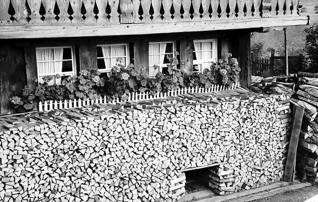 Details vom Holzstapel des alten Schwarzwaldhauses bei Geschwend, Bild 1
