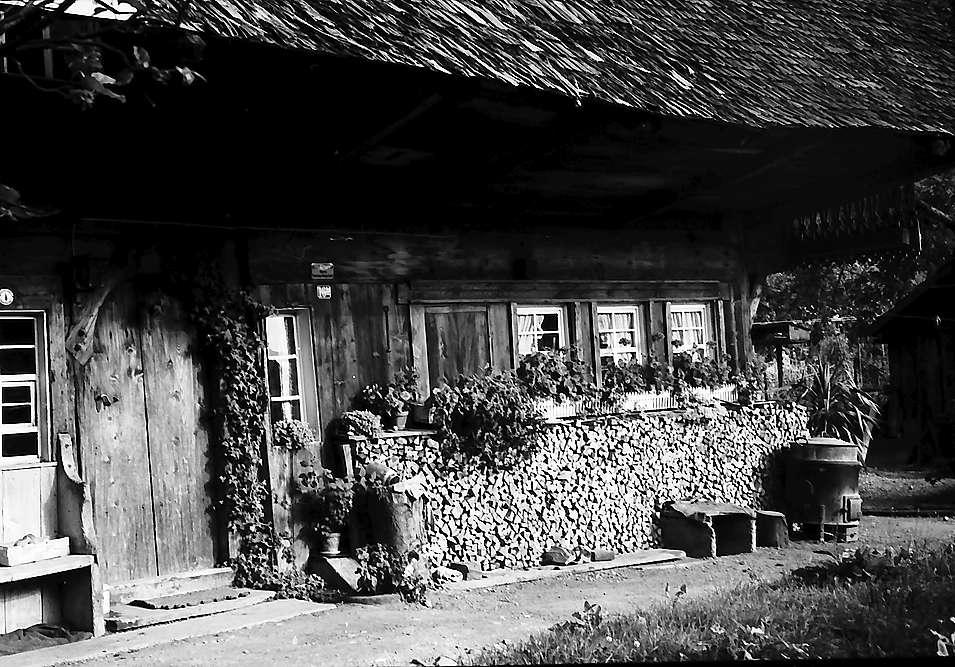 Der Eingang mit Blumenfenstern am alten Schwarzwaldhaus bei Geschwend, Bild 1