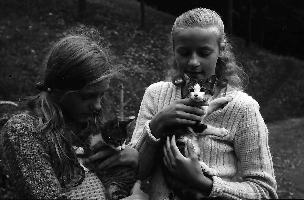 Daniela und Nicole mit Kätzchen in Kaltwasser, Bild 1