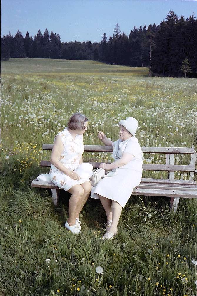 Spitzli und Paula Dötsch auf einer Bank am Rinken, Bild 1