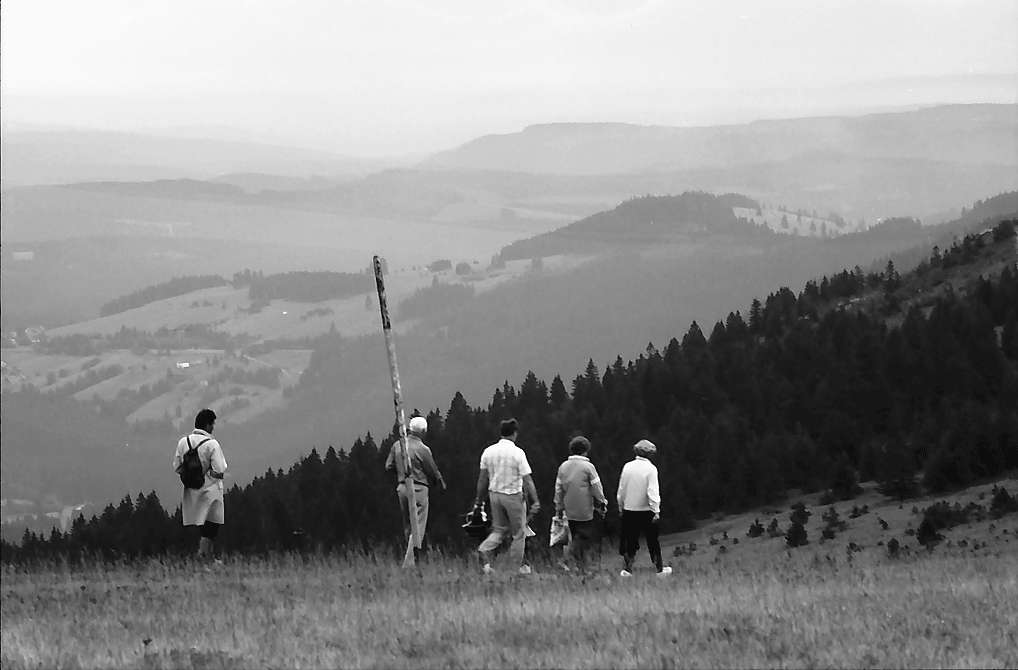 Wanderweg zum Feldbergturm mit Hinweisschild und Wanderern auf dem Feldberg, Bild 1