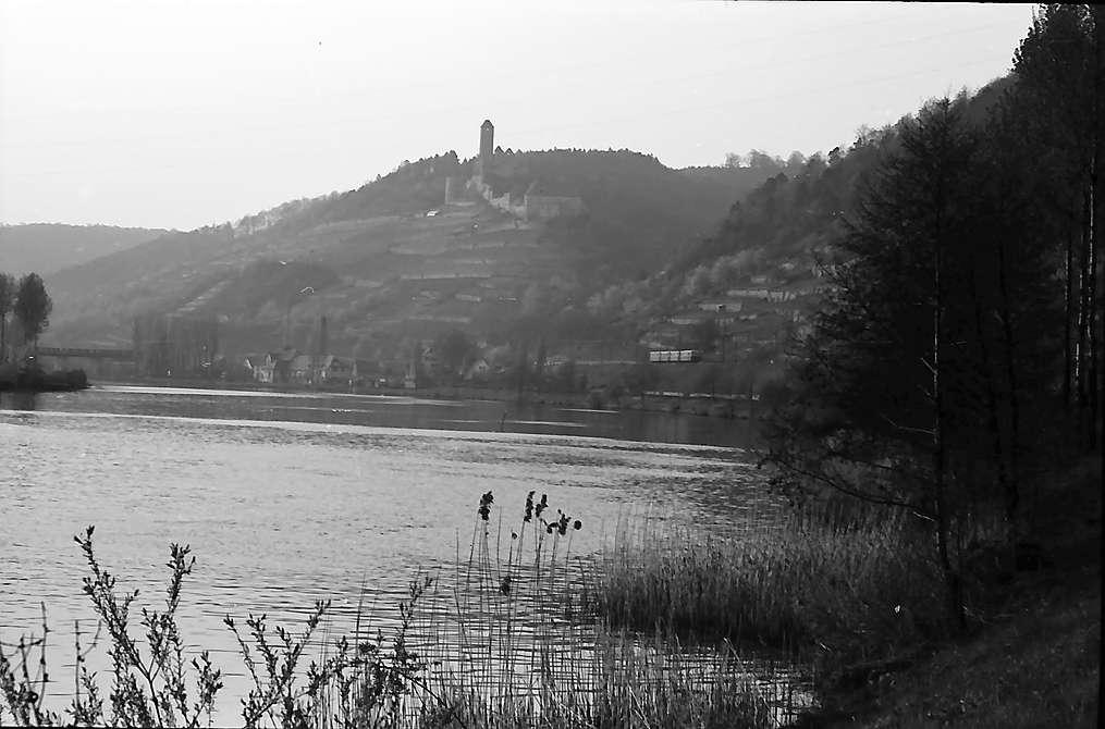 Neckarzimmern: Neckar mit Blick auf die Burg Hornberg, Bild 1