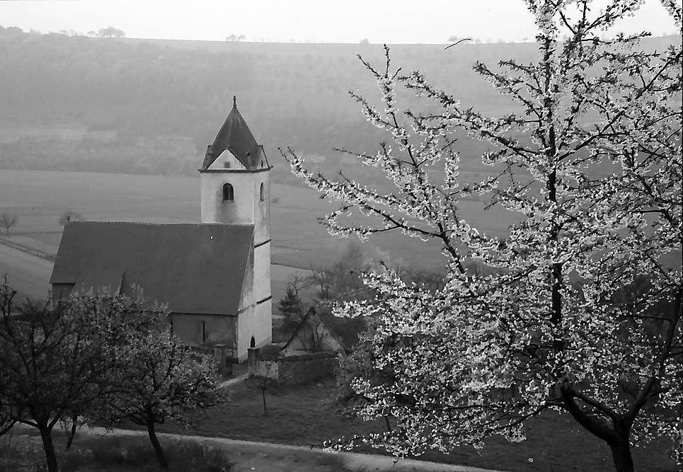 Neudenau: St. Gangolf-Kapelle von oben, Bild 1