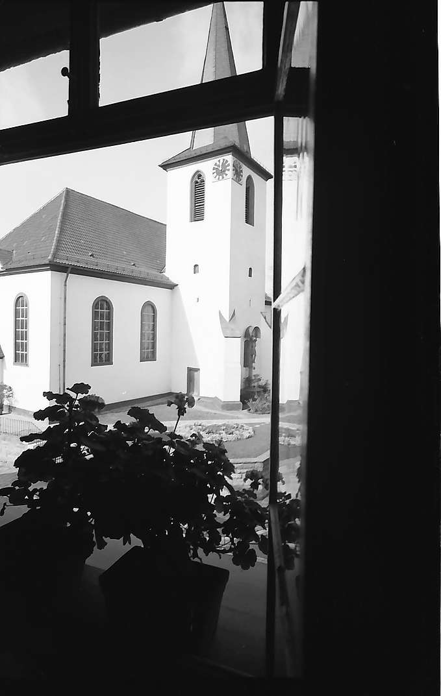 Walldorf: Durch die Blumenfenster des Rathauses auf die Kirche, Bild 1