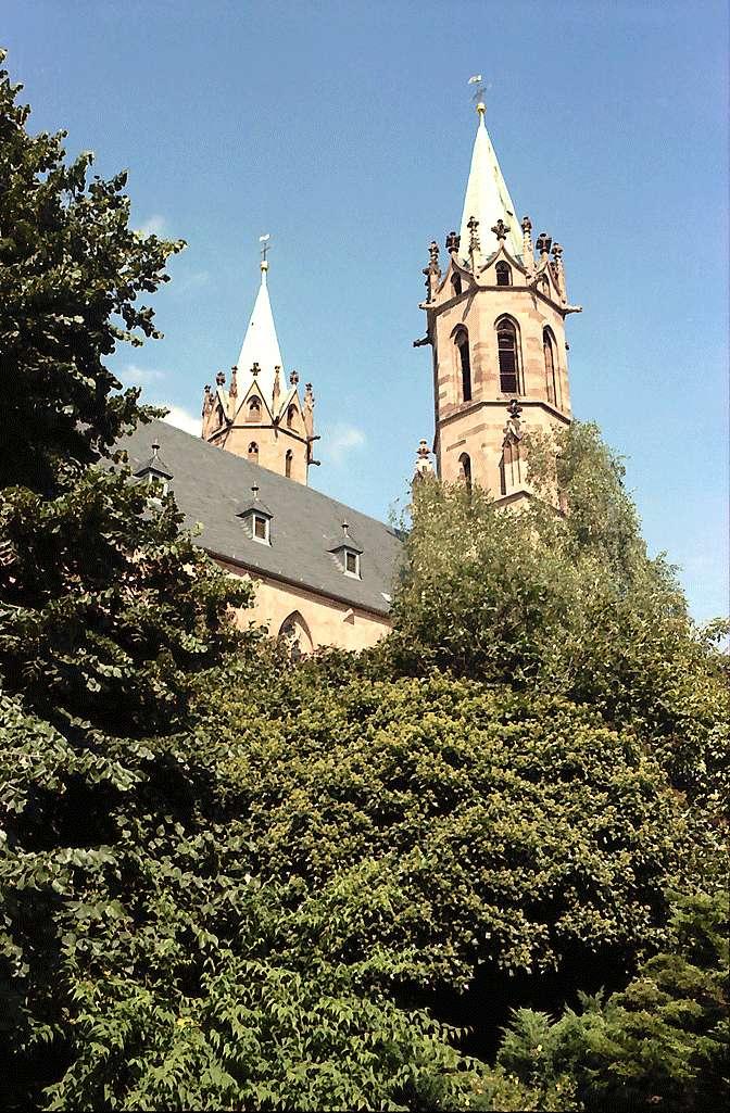 Ladenburg: Kirchturm von unten, Bild 1