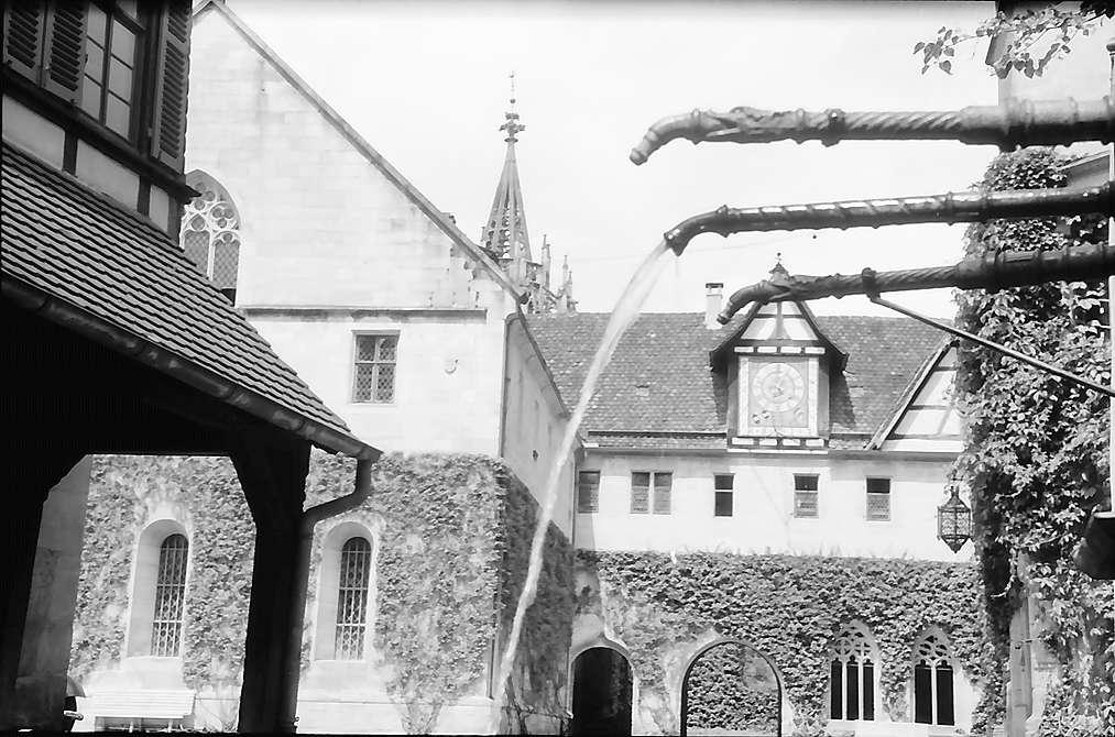 Tübingen-Bebenhausen: Hof des Schlosses mit Wasserspeiern des Brunnens, Bild 1
