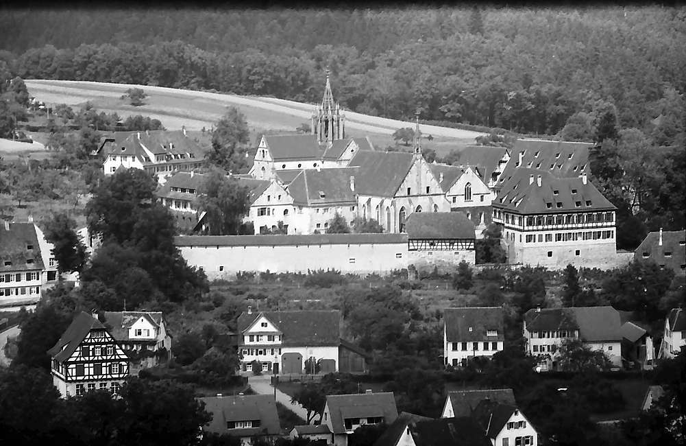 Tübingen-Bebenhausen: Blick auf den Ort von der von der Höhe, Bild 1