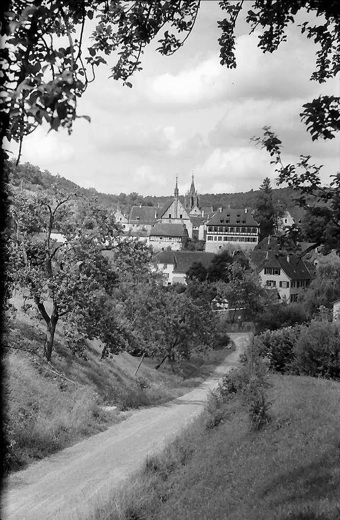 Tübingen-Bebenhausen: Blick auf den Ort von der von der Höhe mit der Straße im Vordergrund, Bild 1