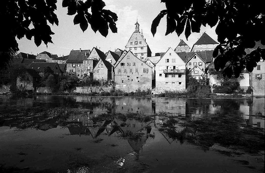 Besigheim: Blick vom Enzufer auf die alte Stadt, Bild 1