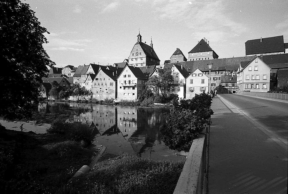 Besigheim: Blick von der alten Brücke auf die Stadt, Bild 1
