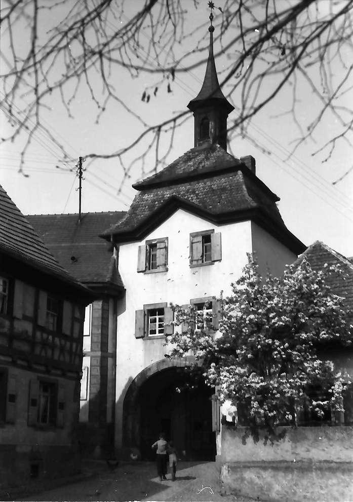 Burkheim: Gasse hinab mit Blütenbaum, Bild 1