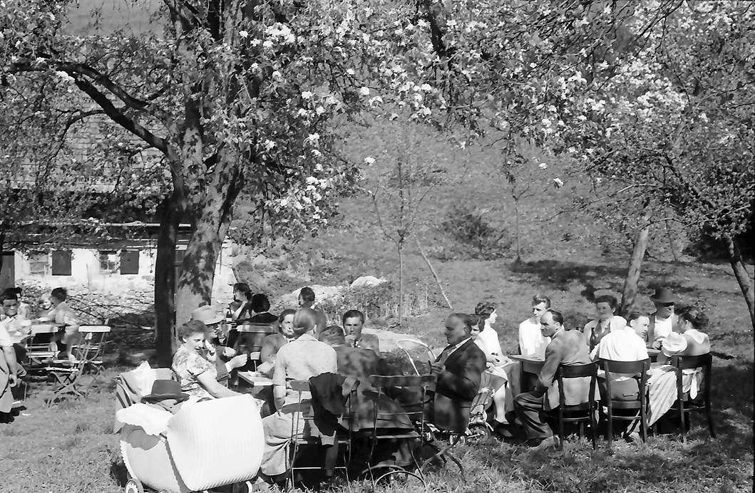 Vogtsburg: Gartenlokal unter Blüten, Tische näher, Bild 1