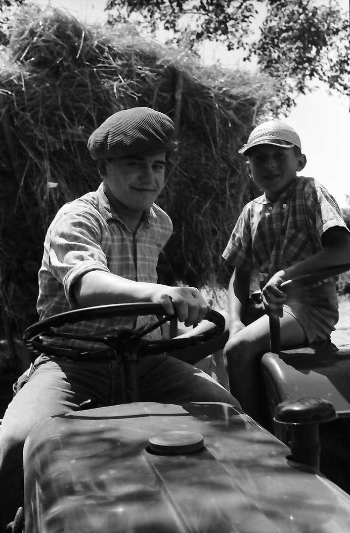 Ihringen: Zwei Bauernburschen auf Traktor vor Erntewagen, Bild 1