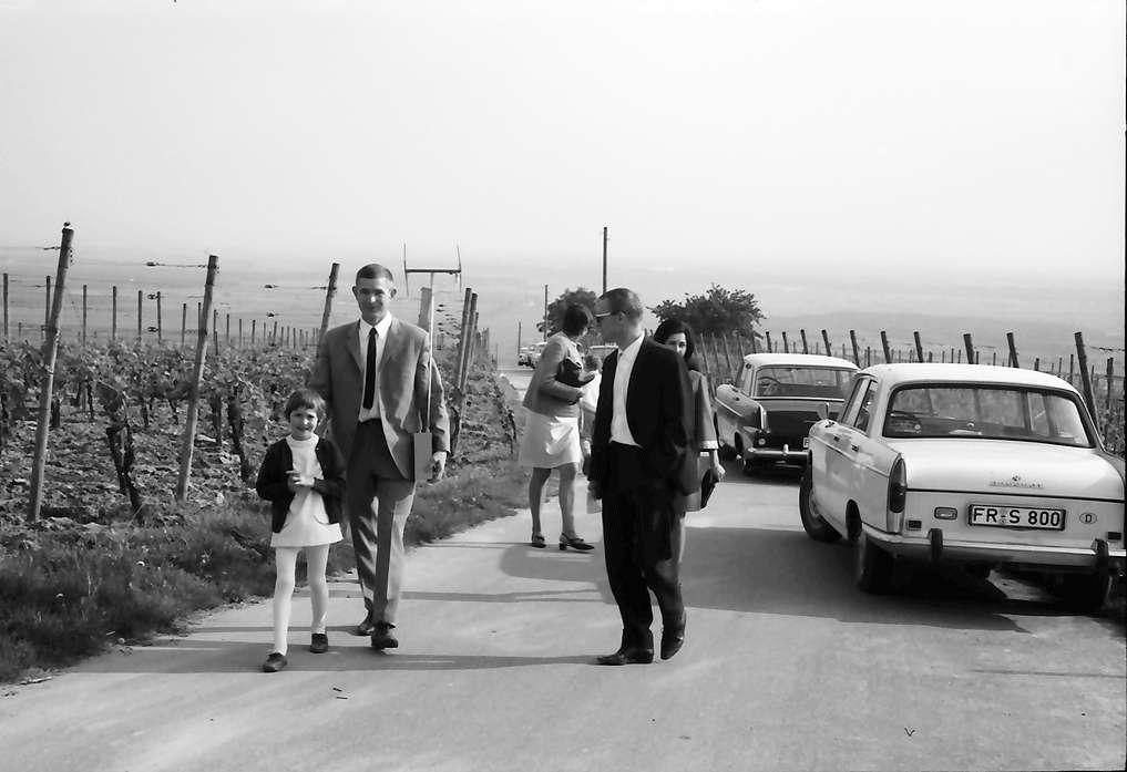 Ihringen: Spaziergänger mit Radio und Riesenantenne, Bild 1
