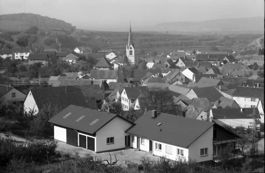 Bickensohl: Aussiedlerhof, Hintergrund Ort mit Kirche, Bild 1