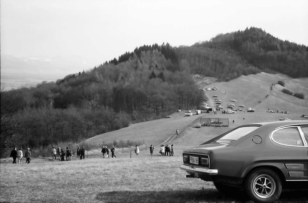 Vogtsburg: Reitturnier, Autos an den Hängen und Publikum, Bild 1